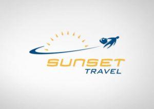 Réalisation du logo pour l'agence de voyage Sunset travel (réalisé à l'atelier Moix).